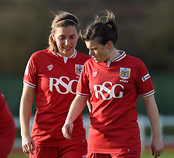 Grace McCatty and Hayley Ladd of Bristol City Women - Mandatory by-line: Paul Knight/JMP - Mobile: 07966 386802 - 14/02/2016 -  FOOTBALL - Stoke Gifford Stadium - Bristol, England -  Bristol Academy Women v QPR Ladies - FA Cup third round
