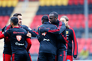 OSTERSUND, SWEDEN - APRIL 21: Sotirios Papagianopoulos and Ronald Mukibi of Ostersunds FK hugs team mates ahead of during the Allsvenskan match between Ostersunds FK and Orebro SK at Jamtkraft Arena on April 21, 2018 in Ostersund, Sweden. Photo by Nils Petter Nilsson/Ombrello ***BETALBILD***