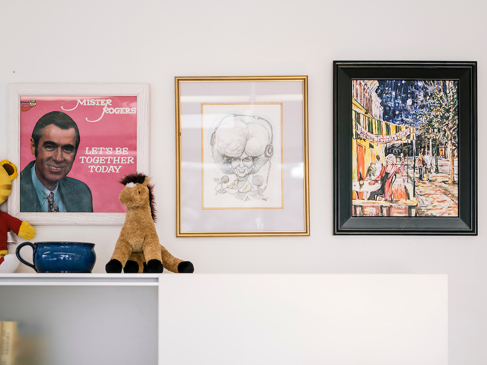 Drawings and memorabilia on the wall of Diane Rehm's office in Washington, D.C.