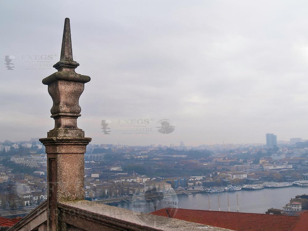 Oporto, December 2012. View of Douro river and Vila Nova de Gaia in front of Oporto from Oporto cathedral.
