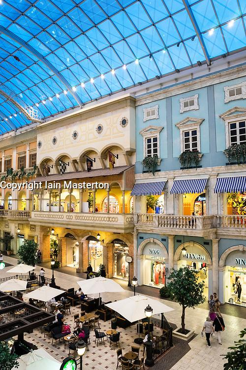 Italian themed Mercato shopping mall in Dubai United Arab Emirates