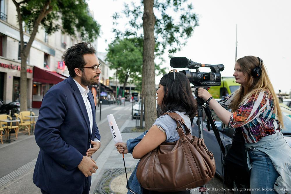 8  June  2017 &ndash; Paris, France<br /> Mounir Mahjoubi receives Reuters journalist.