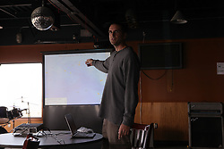 USA ALASKA ST PAUL ISLAND 8JUL12 - Greenpeace US oceans campaign director John Hocevar gives a presentation at the Aleut community centre on the island of St. Paul in the Bering Sea, Alaska.....Photo by Jiri Rezac / Greenpeace....© Jiri Rezac / Greenpeace