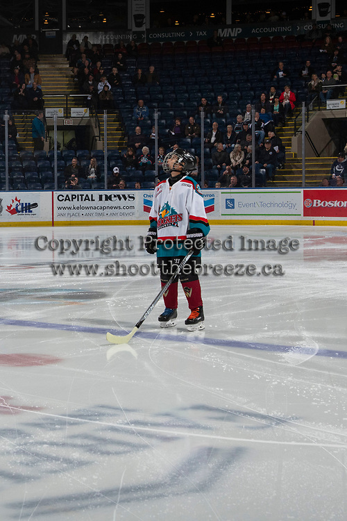 KELOWNA, CANADA - DECEMBER 5:  The Pepsi Player stands on the blue line at the Kelowna Rockets against the Tri-City Americans on December 5, 2018 at Prospera Place in Kelowna, British Columbia, Canada.  (Photo by Marissa Baecker/Shoot the Breeze)