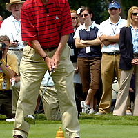 04 July 2007:  Former President George H. W. Bush tees off to start the inaugural AT&T National PGA event with Tiger Woods at Congressional Country Club in Bethesda, Md. The proceeds of the golf tournament will benefit the Tiger Woods Foundation and local Washington, DC, based charities..   ****For Editorial Use Only