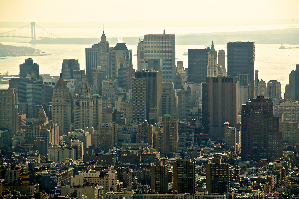 Skyline of the down Town financial district of New York City.