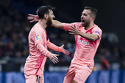 December 8, 2018 - Barcelona, Catalonia, Spain - 10 Leo Messi of FC Barcelona celebrating his goal with 18 Jordi Alba of FC Barcelona during the Spanish championship La Liga football match between RCD Espanyol v FC Barcelona on December 08, 2018 at RCD Stadium stadium in Barcelona, Spain. (Credit Image: © Xavier Bonilla/NurPhoto via ZUMA Press)