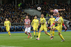 October 9, 2017 - Kiev, Ukraine - Croatian players Andrej Kramaric and Mario Mandzukic vies Yevhen Khacheridi of Ukraine during the FIFA 2018 World Cup Group I Qualifier between Ukraine and Croatia at Kiev Olympic Stadium on October 9, 2017 in Kiev, Ukraine. Ukraine fail to reach the play-offs as they lose 2-0. (Credit Image: © Sergii Kharchenko/NurPhoto via ZUMA Press)