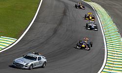 Motorsports / Formula 1: World Championship 2010, GP of Brazil, Bernd Maylaender (GER, Safety Car driver), 05 Sebastian Vettel (GER, Red Bull Racing), 10 Nico Huelkenberg (GER, AT&T Williams),  11 Robert Kubica (POL, Renault F1 Team), 06 Mark Webber (AUS, Red Bull Racing),