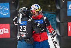 Mastnak Tim and Karl Benjamin during the men's Snowboard giant slalom of the FIS Snowboard World Cup 2017/18 in Rogla, Slovenia, on January 21, 2018. Photo by Urban Meglic / Sportida