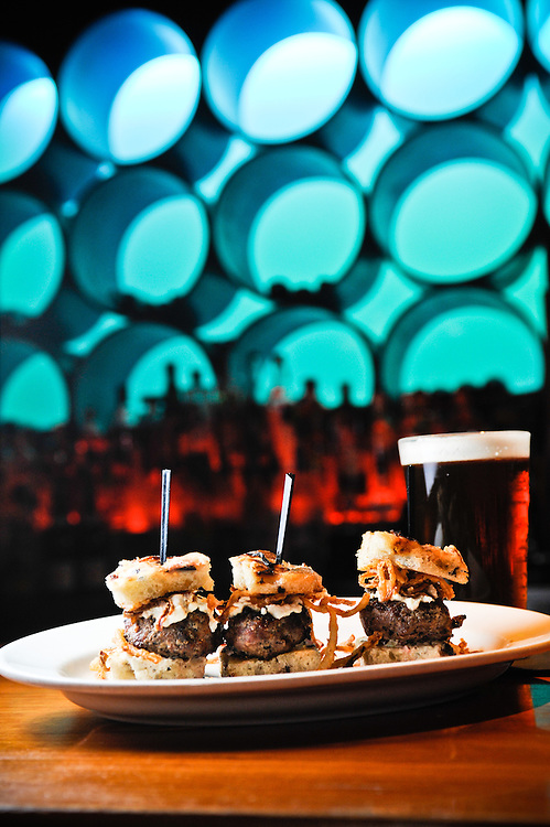 Sliders and beer on the bar at the Ashmont Grill in Dorchester, MA.