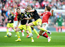 Bristol City's Luke Freeman battles for the ball with Walsall's Sam Mantom  - Photo mandatory by-line: Joe Meredith/JMP - Mobile: 07966 386802 - 22/03/2015 - SPORT - Football - London - Wembley Stadium - Bristol City v Walsall - Johnstone Paint Trophy Final
