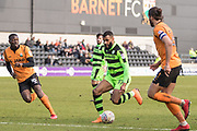 Forest Green Rovers Dan Wishart(17) on the ball during the EFL Sky Bet League 2 match between Barnet and Forest Green Rovers at The Hive Stadium, London, England on 7 April 2018. Picture by Shane Healey.