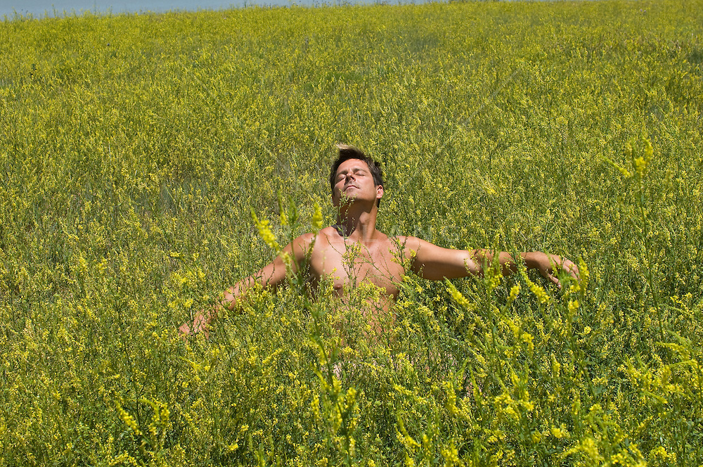 Shirtless man in a field up to his neck with wild yellow flowers