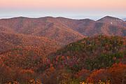 Late autumn scene just before sunrise in Shenandoah National Park, Virginia