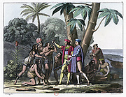 Columbus presenting gifts to the first natives to greet him on his landing in the New World. 1492. Coloured lithograph, 1827.