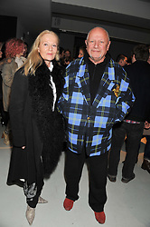 Actor STEVEN BERKOFF and CLARA FISCHER  at a private view of Bill Wyman - Reworked held at the Rook & Raven Gallery, 7 Rathbone Place, London W1 on 26th February 2013.