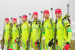 Men team: Lenart Oblak, Peter Dokl, Klemen Bauer, Jakov Fak, Janez Maric and Simon Kocevar during media day of Slovenian biathlon team before new season 2013/14 on November 14, 2013 in Rudno polje, Pokljuka, Slovenia. Photo by Vid Ponikvar / Sportida