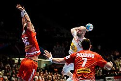 18.01.2020, Wiener Stadthalle, Wien, AUT, EHF Euro 2020, Spanien vs Österreich, Hauptrunde, Gruppe I, im Bild v. l. Lukas Herburger (AUT), Joan Canellas Reixach (ESP), Janko Bozovic (AUT) // f. l. Lukas Herburger (AUT) Joan Canellas Reixach (ESP) Janko Bozovic (AUT) during the EHF 2020 European Handball Championship, main round group I match between Spain and Austria at the Wiener Stadthalle in Wien, Austria on 2020/01/18. EXPA Pictures © 2020, PhotoCredit: EXPA/ Florian Schroetter