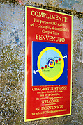 Welcome sign in Corniglia, Cinque Terre, Liguria, Italy