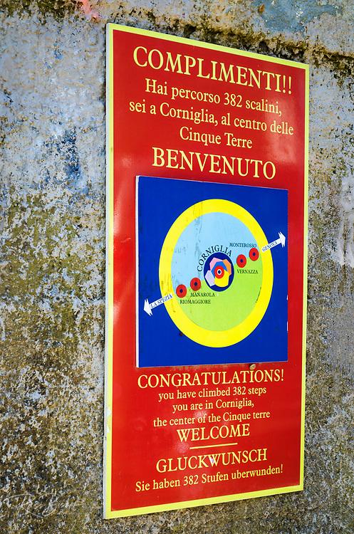Welcome sign in Corniglia, Cinque Terre, Liguria, Italy