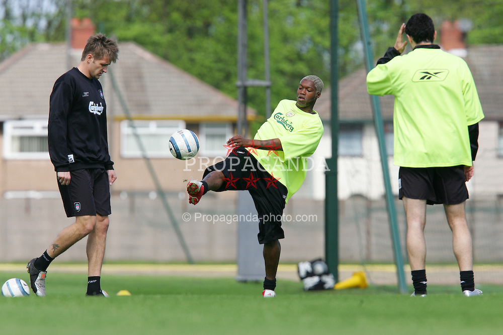 LIVERPOOL, ENGLAND. MONDAY, MAY 2nd, 2005: Liverpool's Djibril Cisse training at Melwood Training Ground ahead of his side's UEFA Champions League Semi Final 2nd Leg against Chelsea. (Pic by David Rawcliffe/Propaganda)