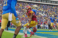 17 October 2012: Wide receiver (2) Robert Woods of the USC Trojans catches a two point conversion to score against the UCLA Bruins during the second half of UCLA's 38-28 victory over USC at the Rose Bowl in Pasadena, CA.