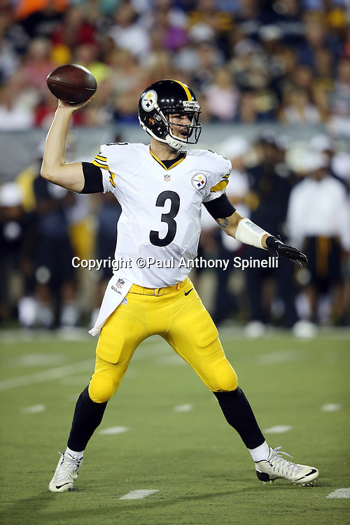 Pittsburgh Steelers quarterback Landry Jones (3) throws a pass during the 2015 NFL Pro Football Hall of Fame preseason football game against the Minnesota Vikings on Sunday, Aug. 9, 2015 in Canton, Ohio. The Vikings won the game 14-3. (©Paul Anthony Spinelli)