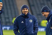 Gafurzhan Suyumbaev (#16) of Kazakhstan ahead of the UEFA European 2020 Qualifier match between Scotland and Kazakhstan at Hampden Park, Glasgow, United Kingdom on 19 November 2019.