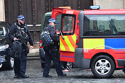© Licensed to London News Pictures. 13/02/2018. London, UK. The scene at Parliament where it is being reported that an incident is ongoing.  Photo credit: Ben Cawthra/LNP