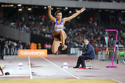 Dovile  Dzindzalietaite of Lithuania in the Woman Triple Jump during the Sainsbury's Anniversary Games at the Queen Elizabeth II Olympic Park, London, United Kingdom on 24 July 2015. Photo by Phil Duncan.