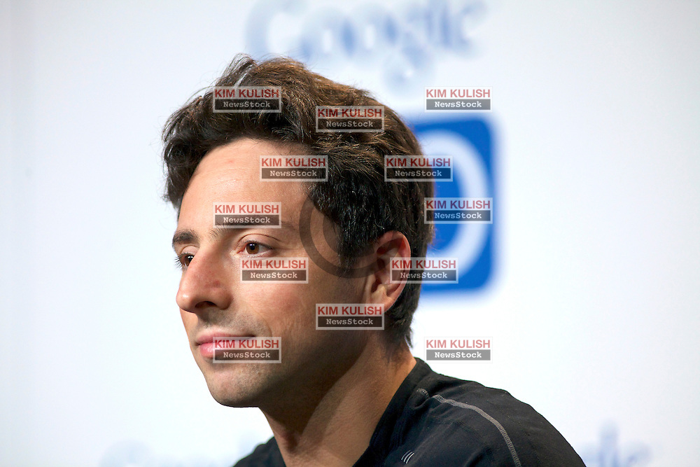 Sergey Brin, co-founder of Google Inc., attends a press conference on the new Google Chomebook at the Google I/O developer's conference in San Francisco, California.