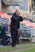 14th April 2018, Tannadice Park, Dundee, Scotland; Scottish Championship football, Dundee United versus Falkirk; Dundee United manager Csaba Laszlo