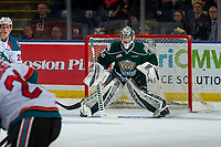 KELOWNA, BC - JANUARY 09:  Dustin Wolf #32 of the Everett Silvertips defends the net against the Kelowna Rockets at Prospera Place on January 9, 2019 in Kelowna, Canada. (Photo by Marissa Baecker/Getty Images)