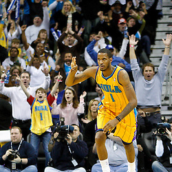 January 22, 2011; New Orleans, LA, USA; New Orleans Hornets small forward Trevor Ariza (1) celebrates after hitting on a three point shot during the third quarter against the San Antonio Spurs at the New Orleans Arena. The Hornets defeated the Spurs 96-72.  Mandatory Credit: Derick E. Hingle