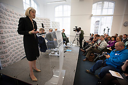 © Licensed to London News Pictures. 07/11/2013. London, UK. The British Home Secretary, Theresa May, is seen delivering a speech on Police Reform at the 'Policy Space' in Westminster, London today (07/11/2013). Photo credit: Matt Cetti-Roberts/LNP