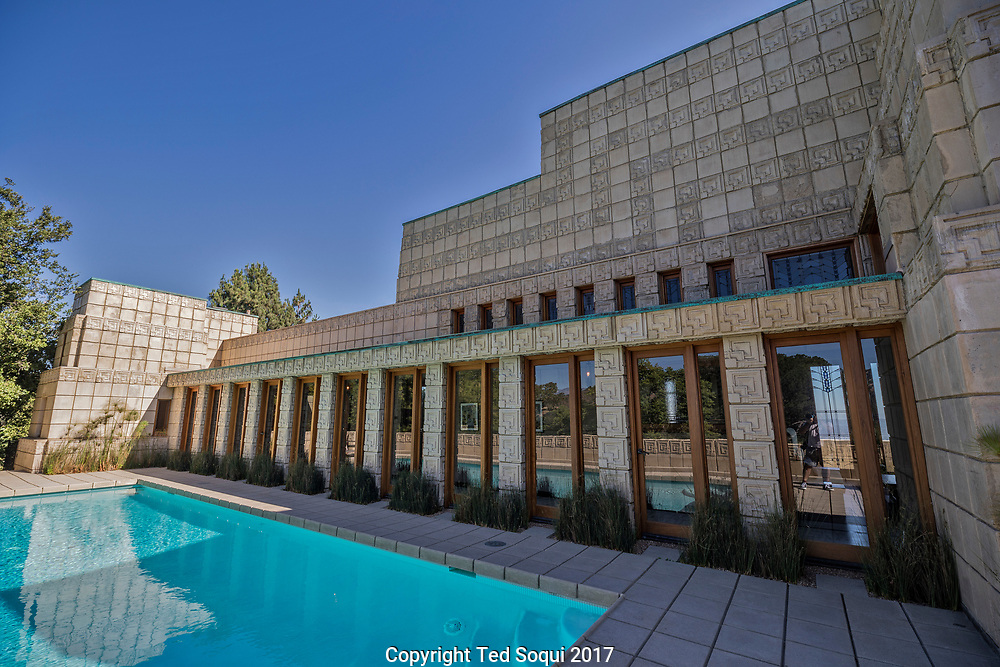 The Ennis House designed by Frank Lloyd Wright.<br /> Outside view near pool.