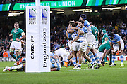 Joy for Argentina at the final whistle during the Rugby World Cup Quarter Final match between Ireland and Argentina at Millennium Stadium, Cardiff, Wales on 18 October 2015. Photo by Shane Healey.