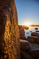"""Sunset at Lake Tahoe 27"" - These boulders were photographed at Secret Cove, Lake Tahoe at sunset."