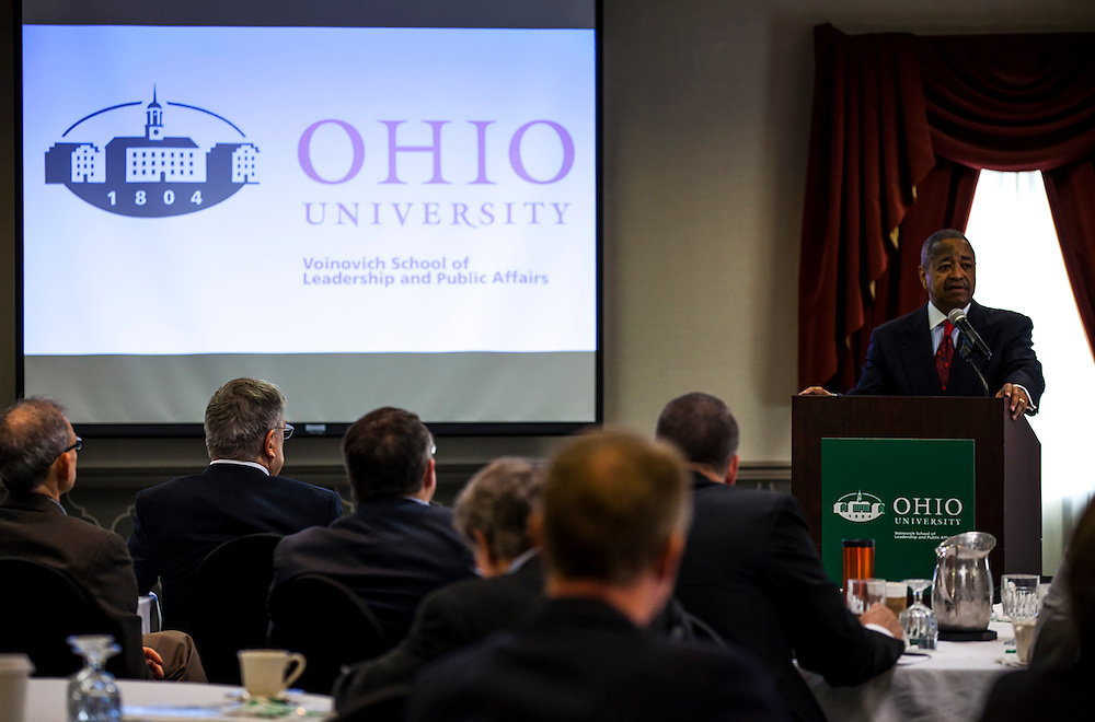 Ohio University President Roderick McDavis, gives the welcome at the Opening Plenary Sessionin the Cutler Ballroom at the Ohio University Inn, Athens, OH, on Thursday, April 7, 2016. -- The Voinovich School of Leadership and Public Affairs is hosting the CUPSO (Consortium of University Public Service Organizations) annual conference at Ohio University in Athens, OH, from April 6-8, 2016. © Ohio University / Sonja Y. Foster