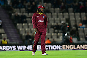 Chris Gayle of of West Indies in the field during the One Day International match between England and West Indies at the Ageas Bowl, Southampton, United Kingdom on 29 September 2017. Photo by Graham Hunt.