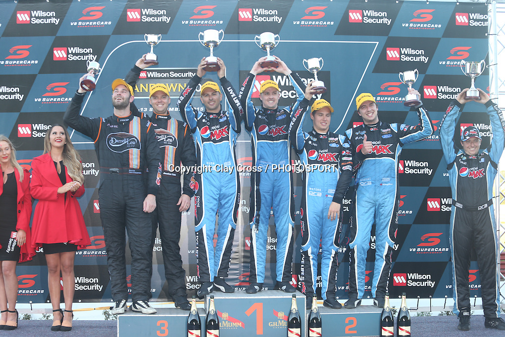 Mark Winterbottom & Steve Owen (Pepsi Max Ford) with Chaz Mostert & Cameron Waters and Shane van Gisbergen & Jonathon Webb. 2015 Wilson Security Sandown 500. V8 Supercars Championship Round 9. Sandown International Raceway, Victoria. Sunday 13 September 2015. Photo: Clay Cross / photosport.nz