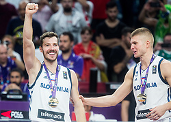 Goran Dragic of Slovenia and Edo Muric of Slovenia celebrating at Trophy ceremony after winning during the Final basketball match between National Teams  Slovenia and Serbia at Day 18 of the FIBA EuroBasket 2017 and become Europen Champions 2017, at Sinan Erdem Dome in Istanbul, Turkey on September 17, 2017. Photo by Vid Ponikvar / Sportida