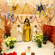 Christmas nativity scene with decorations inside the Mercado Central in the center of Guatemala City near Parque Central.