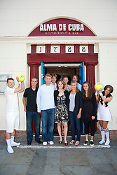 LIVERPOOL, ENGLAND - Thursday, June 17, 2010: Players visit Alma De Cuba for a meal on day two of the Liverpool International Tennis Tournament at Calderstones Park. L-R: Stephen Huss (AUS), Mark Knowles (BAH), Tournament Director Anders Borg, Martina Hingis (SUI), Ana Bogdan, Eugenie Bouchard (CAN), Denis Kudla (USA), Ulrikke Eikeri (NOR). (Pic by David Rawcliffe/Propaganda)