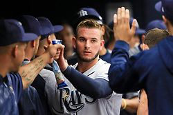 April 20, 2017 - St. Petersburg, Florida, U.S. - WILL VRAGOVIC   |   Times.Tampa Bay Rays shortstop Daniel Robertson (29) in the dugout after scoring on the triple by right fielder Steven Souza Jr. (20) in the second inning of the game between the Detroit Tigers and the Tampa Bay Rays at Tropicana Field in St. Petersburg, Fla. on Thursday, April 20, 2017. (Credit Image: © Will Vragovic/Tampa Bay Times via ZUMA Wire)