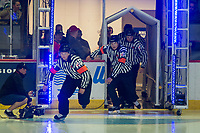 REGINA, SK - MAY 23: Referees and linesman enter the ice at the Brandt Centre on May 23, 2018 in Regina, Canada. (Photo by Marissa Baecker/CHL Images)