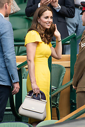 © Licensed to London News Pictures. 15/07/2018. London, UK. HRH The Duchess of Cambridge watches centre court tennis in the royal box on the 13th day of the Wimbledon Tennis Championships 2018 held at the All England Lawn Tennis and Croquet Club. Photo credit: Ray Tang/LNP