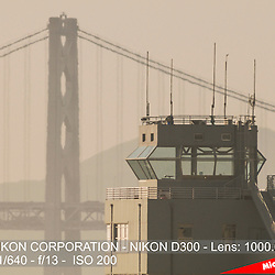 Alameda Naval Air Station Control Tower and Bay Bridge