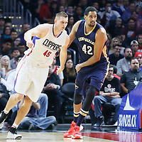 10 January 2016: New Orleans Pelicans center Alexis Ajinca (42) defends on Los Angeles Clippers center Cole Aldrich (45) during the Los Angeles Clippers 114-111 overtime victory over the New Orleans Pelicans, at the Staples Center, Los Angeles, California, USA.